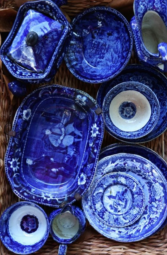 flow blue china....[ this is The very first picture I have found that comes close to showing how extraordinary Flow Blue dishes actually are..♥ ..dr]