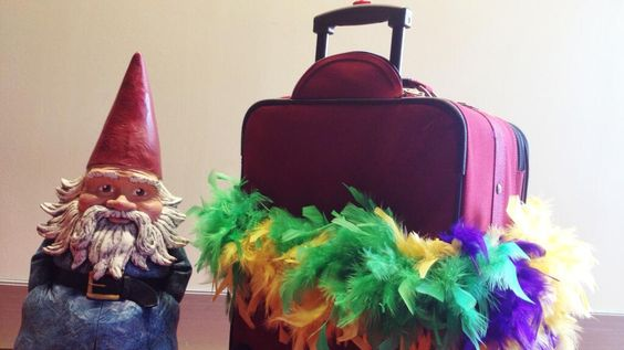 TRAVEL TIP: Tie something bright to your suitcase. (Even suitcases need to feel pretty.) #GnomeWisdom
