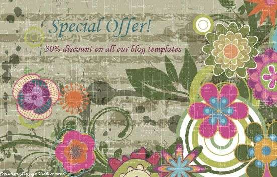 """Special offer for all our Pinterest friends! Untill 31st May! Type in the coupon code """"pinterest"""" at checkout and get a 30% discount on all our premade templates. Click on the pinned image to enter into Delicious Design Studio shop."""