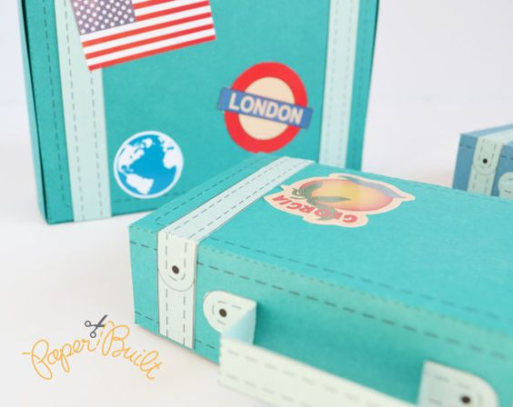Suitcase favor box diy : Vintage suitcase favor box template party