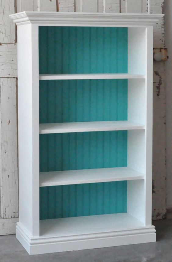 Bookcase in Distressed White and Teal