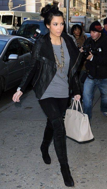 hermes replica birkin handbags - Kim Kardashian wearing Lna Zipper Ankle Leggings In Black Hermes ...