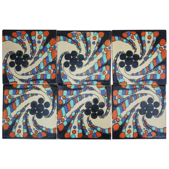 Set of Six Hispano Moresque Tiles, 1920s | From a unique collection of antique and modern pottery at http://www.1stdibs.com/furniture/dining-entertaining/pottery/