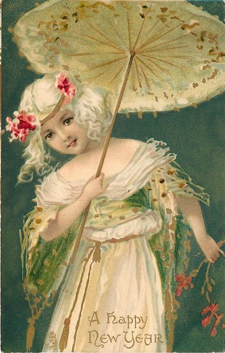 A HAPPY NEW YEAR girl in white holds open parasol, green background: