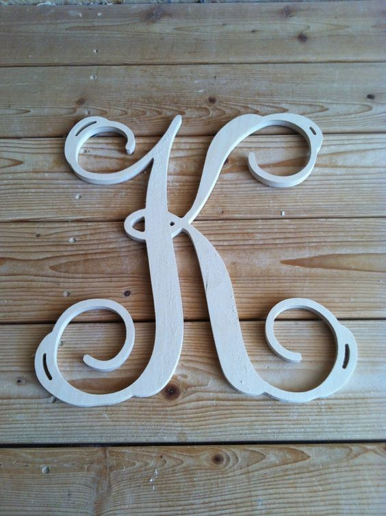 16 inch wooden letters monogram vine font home decor for 16 wooden letters