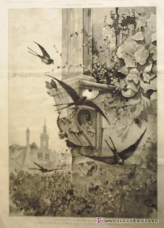UN RECUERDO A BECQUER - VOLVERAN LAS OSCURAS GOLONDRINAS... COMPOSICION DE H. ESTEVAN.- (Arte - Grabados )