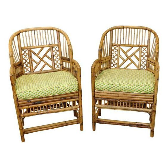 Image of Hollywood Regency Brighton Style Bamboo Chippendale Armchairs - Pair