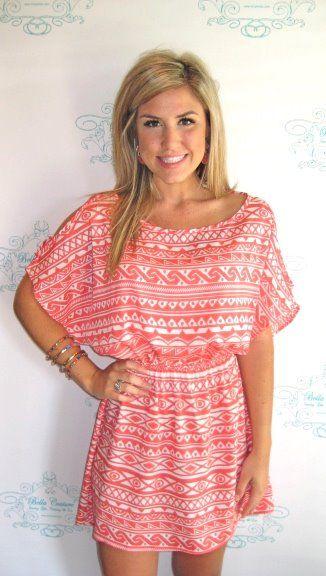 Pink Aztec Print Dress