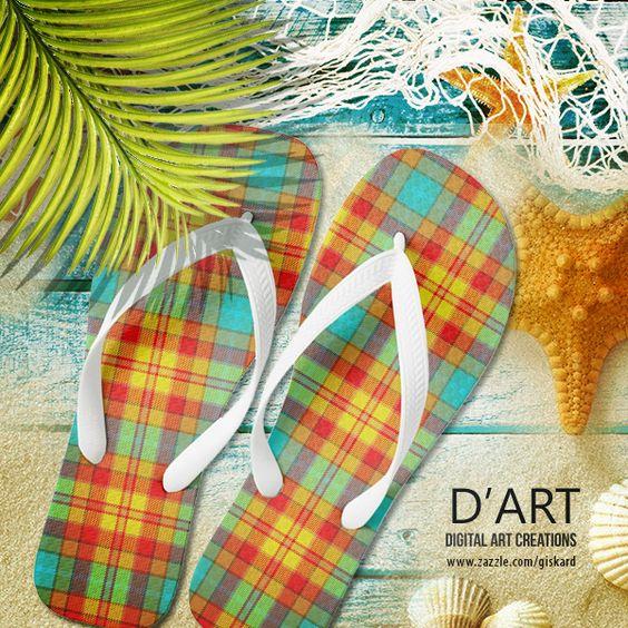 #plaid, #tartan, #squares, #plaidpattern, #tartanpattern, #summer, #colorful, #bright, #cool, #stylish, #young, #hip, #beach #flipflops #sandals #inaflashflipflops #zazzle #zazzler #zazzleshop #digitalartcreations