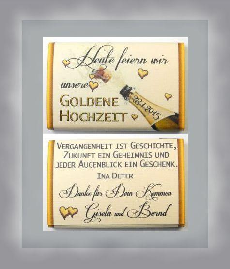 Goldene Hochzeit 1 Iiii 5 Stuck Susse Kleine Gastgeschenke Mit Banderolen Schoko Mo Einladung Goldene Hochzeit Spruche Zur Goldenen Hochzeit Goldene Hochzeit