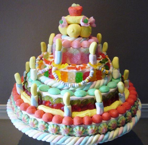 Gateau d 39 anniversaire en bonbons d coation pour un anniversaire pinterest ps bonbon et lol - Gateau en bonbon ...