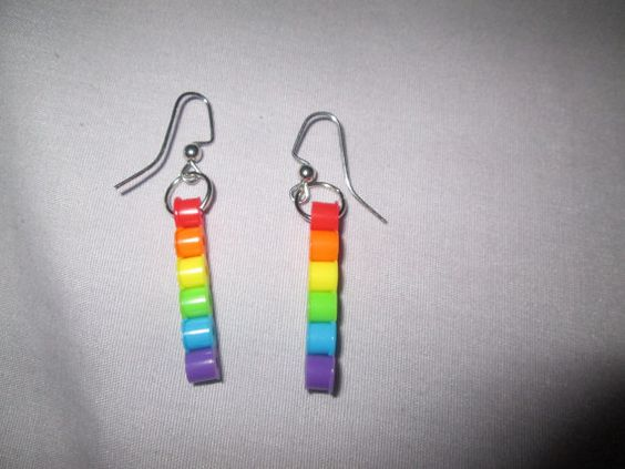 Perler Bead Dangle Bar Earrings- Multicolored Options on Etsy, $2.50
