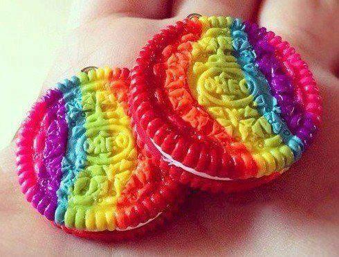 rainbow cakes | ♥ Rainbow White Color Design Art Food Pretty Beautiful Colorful Fashion ♥ oreos cookies
