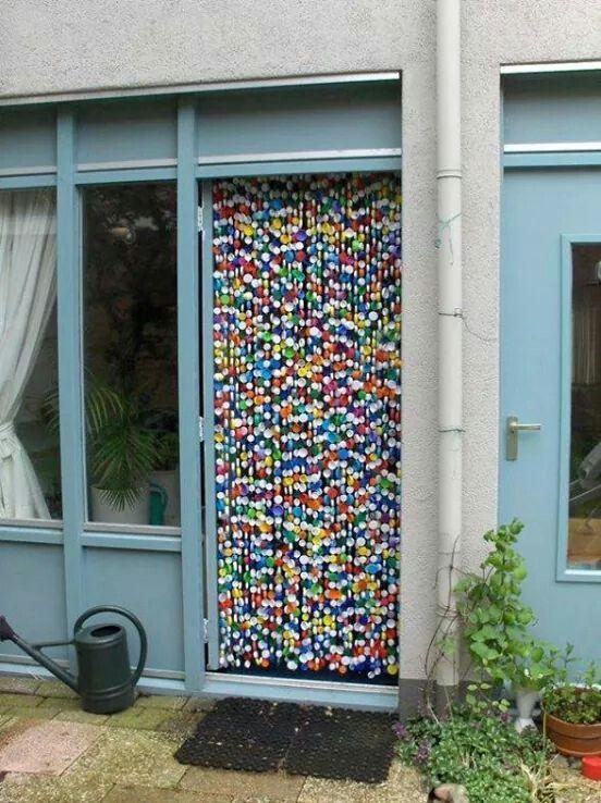 Cortina con tapas de pl stico nespresso cortinas - Cortinas de plastico ...