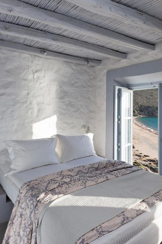 Bedroom that opens to the sea / Serifos, Greece: