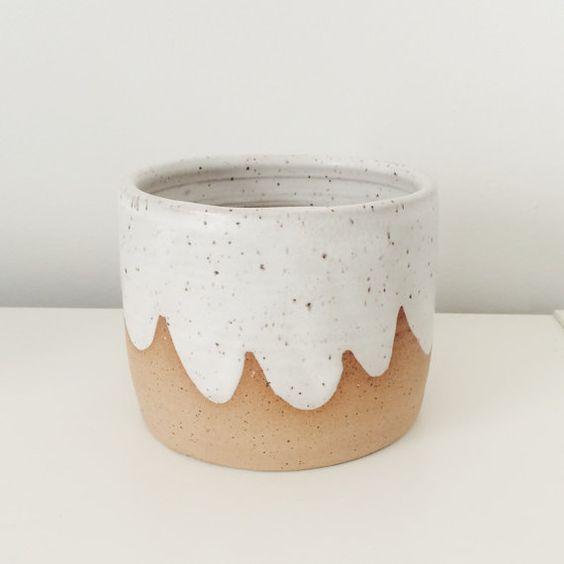 Ceramic Cloud Planter, ceramic planter with scalloped design