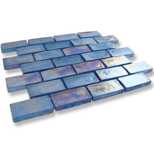 Art Studio 3 4 X 1 5 8 Glass Collection Fountain Blue Clearance Sale 5 99 Per Square Foot Glass Collection Iridescent Glass Tiles Glass Mosaic Tiles