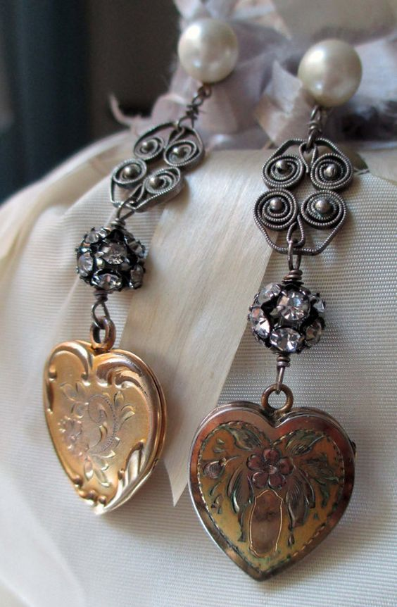 'love lockets' vintage assemblage earrings with gold-filled heart lockets by The French Circus