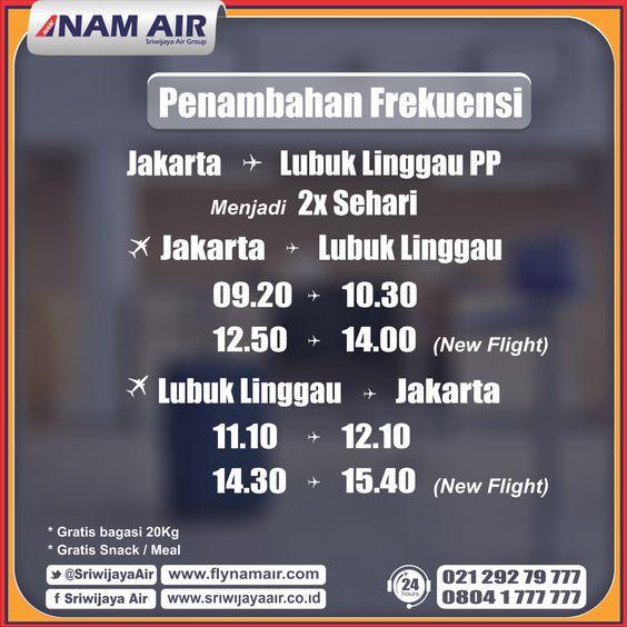 Sekarang, terbang ke Jakarta - Lubuk Linggau atau Lubuk Linggau - Jakarta bersama kami menjadi 2x sehari. Yuk segera pesan tiket Anda.