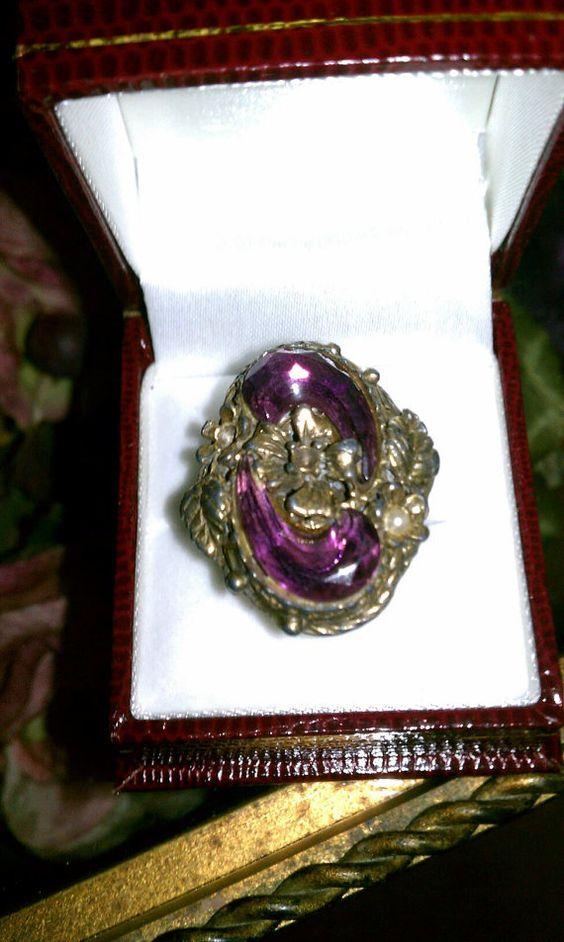 Ring Art Amethyst Glass by TimelessandForever on Etsy, $75.00