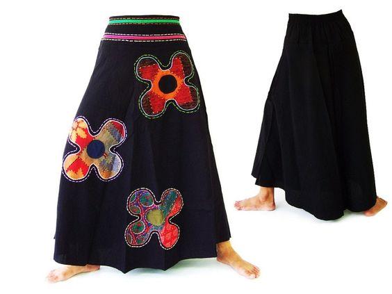 Rok, geborduurd etnische stijl, uniek van Siamrose Art & Decor op DaWanda.com