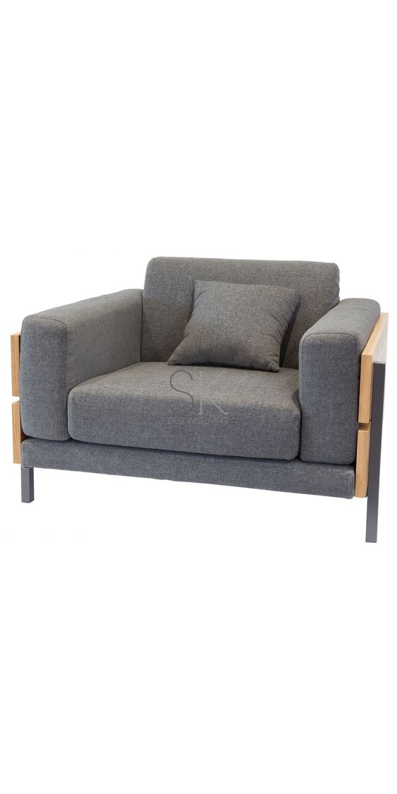 Replica Robin Day British Style Arm Chair - Grey Fabric & Natural Wood Frame