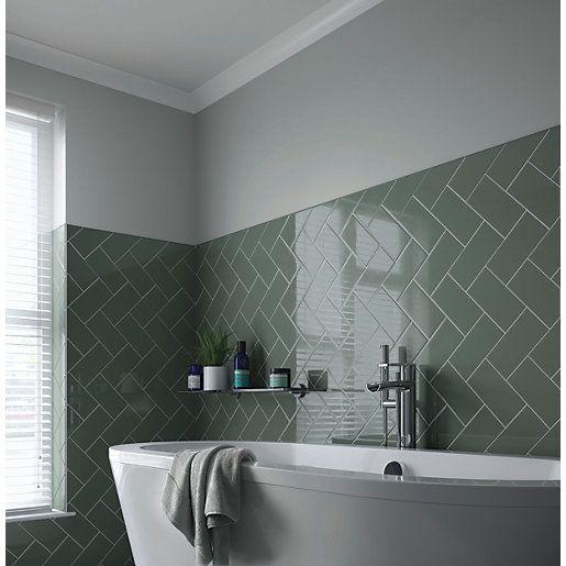 Wickes Cosmopolitan Sage Ceramic Wall Tile 200 X 100mm In 2020 Herringbone Tile Bathroom Bathroom Wall Tile Ceramic Kitchen Tiles
