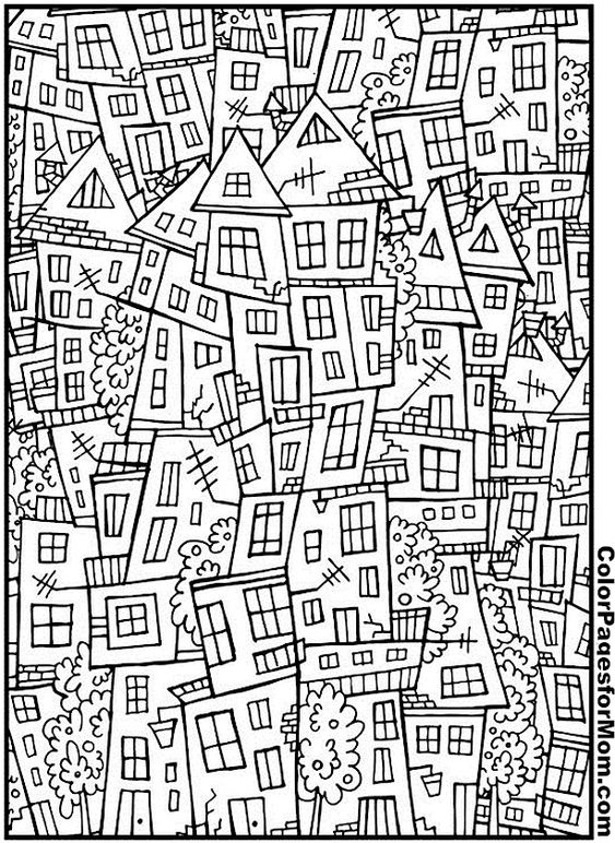 house coloring page 3 | adult coloring pages | coole