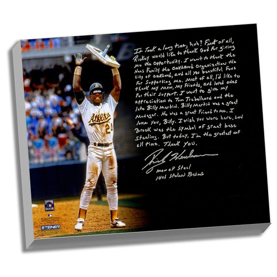 Steiner Rickey Henderson Facsimile 'Stolen Base Record' Stretched 22x26 Story Canvas