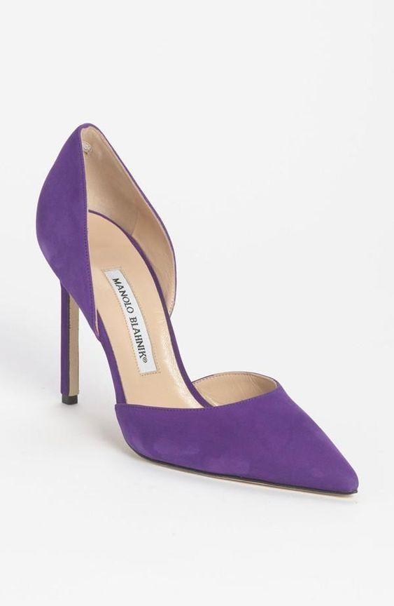 Love! Manolo Blahnik. 'Taylor' d'Orsay Pumps in Purple €535 Spring 2014 #Manolos #Shoes #Heels
