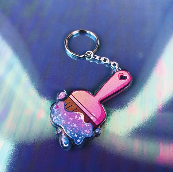 Neopets Inspired Glitter Paint Brush Charm Keychain Etsy Neopets Pretty Pins Glitter Paint