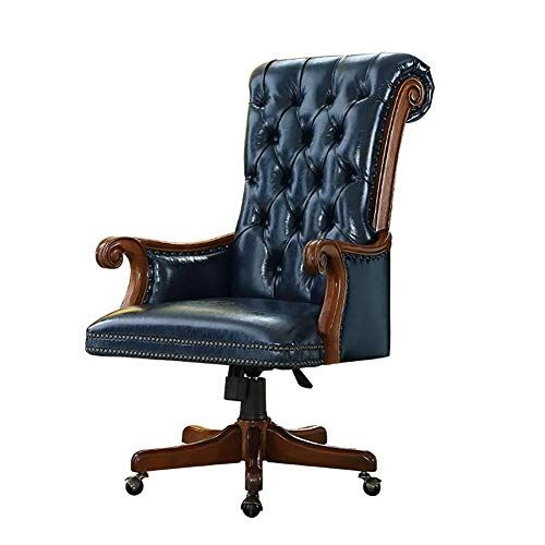 Tqzy Desk Chair American Solid Wood Swivel Chair European Leather