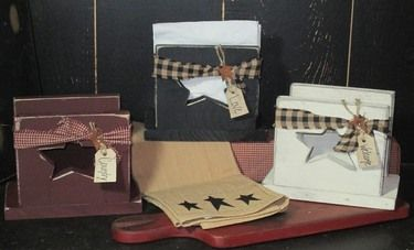 Primitive Distressed Wooden Napkin Holder W Homespun Tag Burgundy Home Decor Wholesale