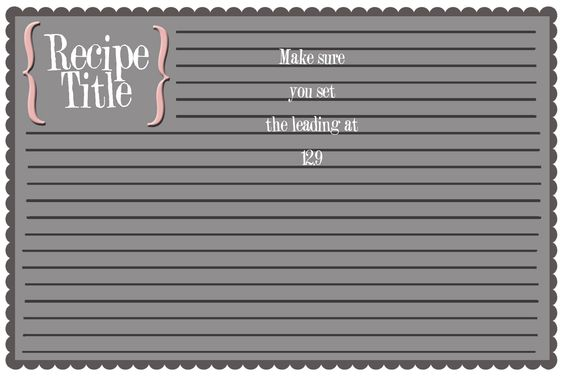 recipe card template for word 4x6