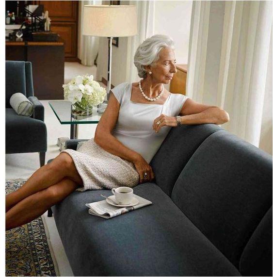 Christine Lagard...I've always loved a square neckline on a dress.: