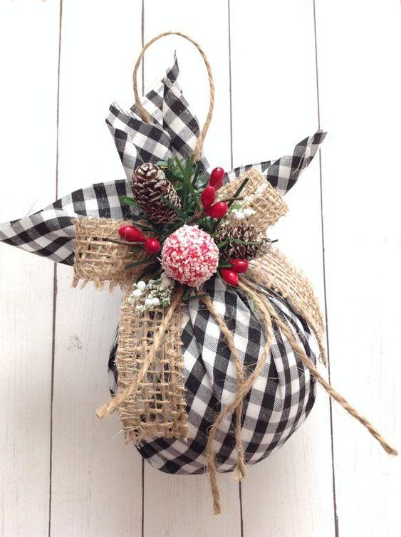 Christmas Tree Ornaments / Plaid Xmas Ornaments / Set of 2 | Etsy
