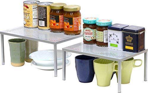 Amazon Com Simplehouseware Expandable Stackable Kitchen Cabinet And Counter Shelf Organizer Silver Shelf Organization Kitchen Cabinets Cabinet Organization