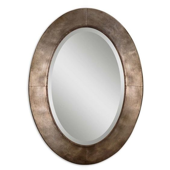 Uttermost 'Kayenta' Antiqued Wall Mirror ($251) ❤ liked on Polyvore featuring home, home decor, mirrors, silver, beveled mirror, uttermost mirrors and uttermost home decor