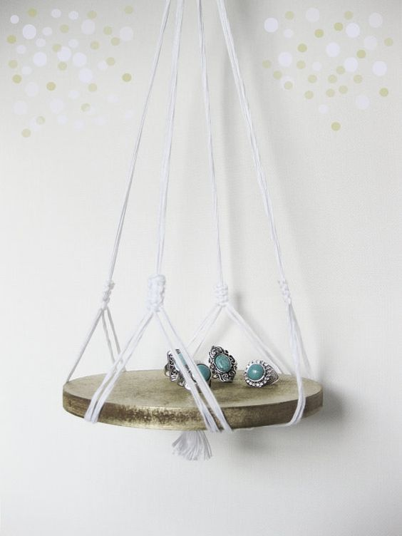 macrame hanger with wood base    heather grey t von recycledlovers, $25.00