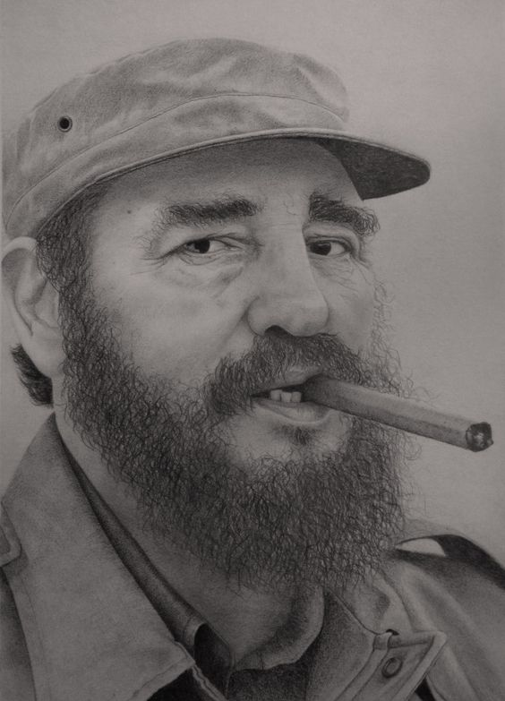 Fidel Castro, retrato a lápiz 30 x 40 cm, pencil drawing