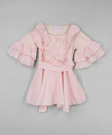 Another great find on #zulily! Pink Surplice Belted Ruffle Top - Infant, Toddler & Girls #zulilyfinds