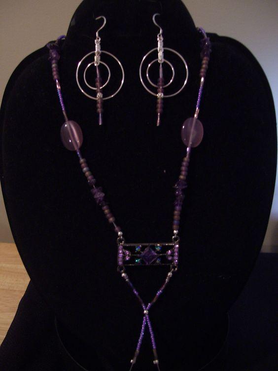Purple/silver necklace/earrings set $35.00