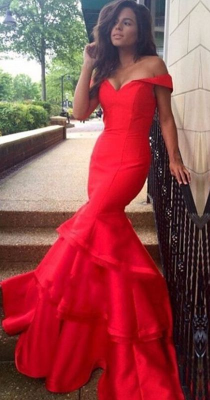 Red prom dress with ruffles