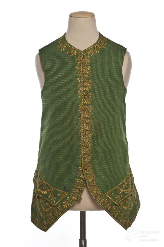 Waistcoat, France, 1770. Greer figured silk with floral gilt embroidery.