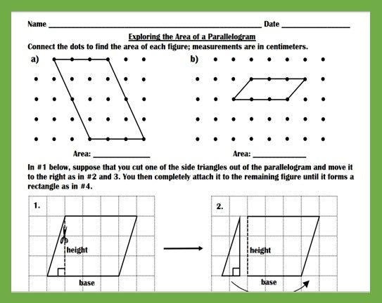 Exploring The Area Of Parallelograms Worksheet Teaching And Practice Teaching Worksheets Lesson