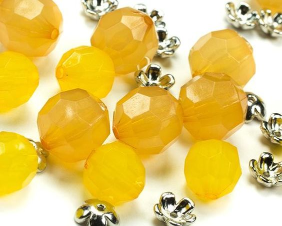 32pc Yellow Faceted Round with Cap - 7-12mm 32 Piece Yellow Faceted Round with Cap Bead Strand [$5.99]