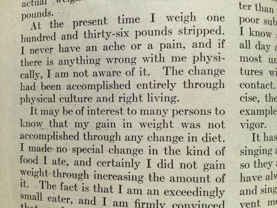 George Bernard Shore in Bernarr MacFadden's Physical Fitness magazine, on diet versus exercise.  ca. 1920.