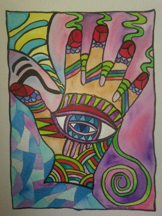 2011 9 x 12 watercolour, sumi ink. Chi Hand. Energy Healing.