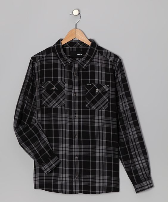 Hurley Sale: Black & Gray Plaid Button-Up, Originally $48, now $12.99