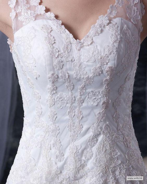 Floor length Train Lace Satin Tiered V-neck Mermaid Wedding Dress